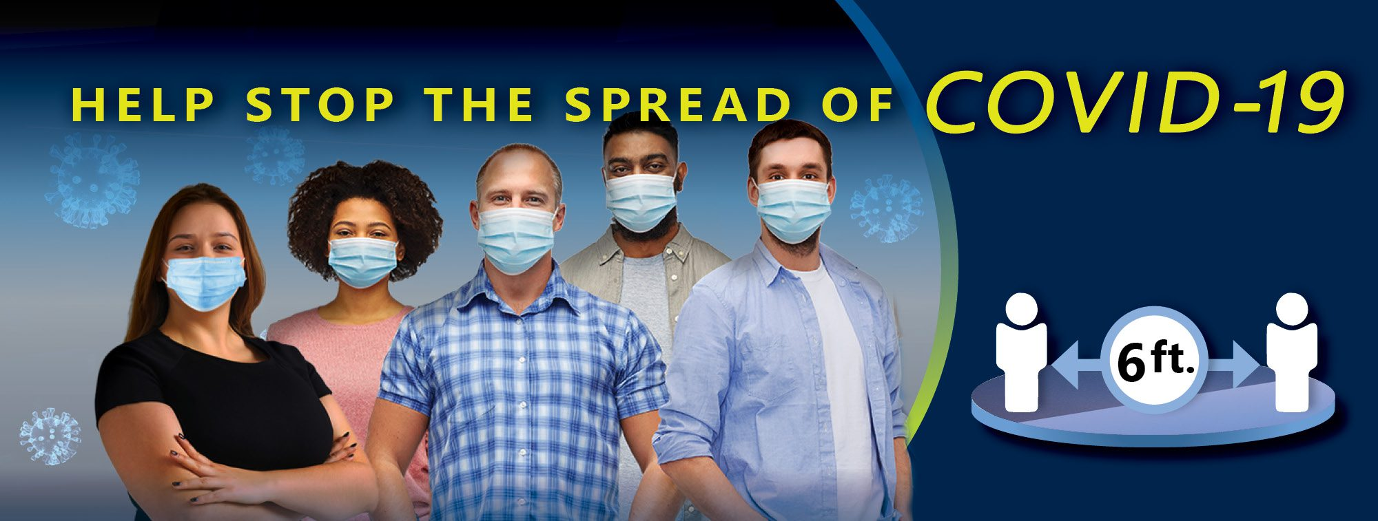 """Picture of people wearing masks with title that reads """"Help Stop the Spread of COVID-19""""."""