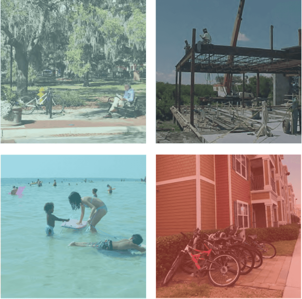 Photos from around Pinellas County. A man sitting in a pack on a bench. A woman and children playing in the water at a beach. A row of bicycles outside of an affordable housing complex. A metal frame of new construction for a building.
